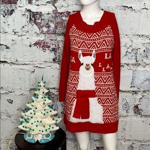 Sweaters - Ugly Christmas llama tunic sweater M